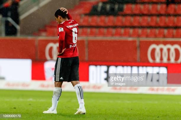 Paulo Otavio of FC Ingolstadt looks dejected during the Second Bundesliga match between FC Ingolstadt 04 and 1 FC Union Berlin at Audi Sportpark on...