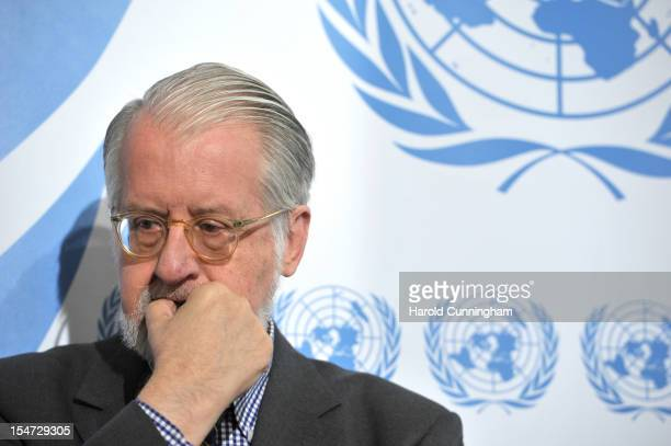 Paulo Pinheiro member of The Commission of Inquiry on Syria looks on as he addresses the press for the first time with the new group composition...