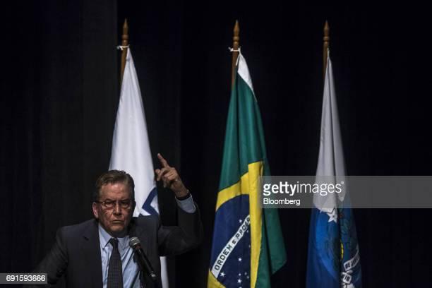 Paulo Rabello de Castro chief executive officer of Banco Nacional de Desenvolvimento Economico Social speaks during an event at the company's...