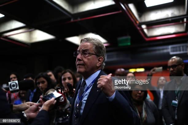 Paulo Rabello de Castro chief executive officer of Banco Nacional de Desenvolvimento Economico Social speaks to members of the media following an...