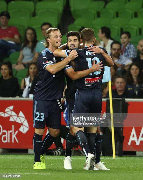 Paulo Retre of Sydney FC celebrates after scoring a goal during the round three ALeague match between Melbourne Victory and Sydney FC at AAMI Park on...