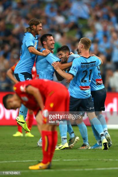 Paulo Retre of Sydney FC celebrates scoring his second goal during the round 13 A-League match between Sydney FC and Adelaide United at Netstrata...