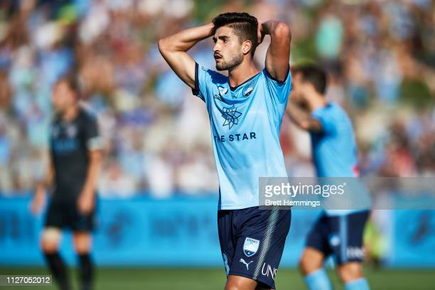 Paulo Retre of Sydney reacts after a shot at goal during the round 17 ALeague match between Sydney FC and Melbourne City at WIN Jubilee Stadium on...