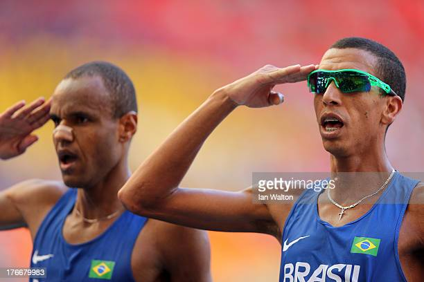 Paulo Roberto Paula of Brazil and Solonei da Silva of Brazil gesture at finish of the Men's Marathon during Day Eight of the 14th IAAF World...
