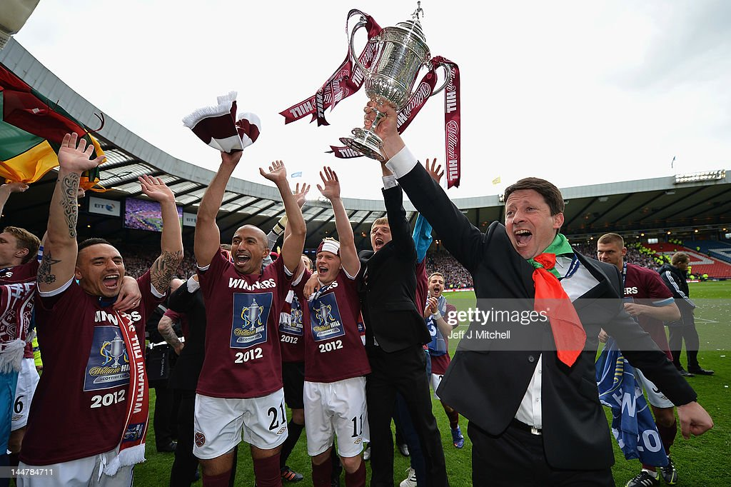 Paulo Sergio coach of Hearts celebrates after winning William Hill Scottish Cup Final between Hibernian and Hearts at Hampden Park on May 19, 2012 in Glasgow, Scotland.