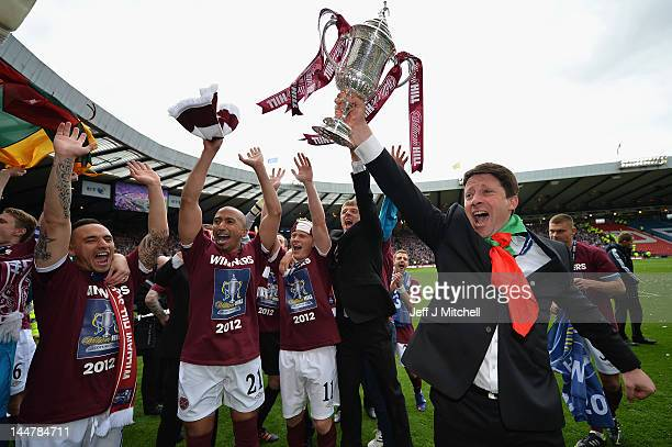 Paulo Sergio coach of Hearts celebrates after winning William Hill Scottish Cup Final between Hibernian and Hearts at Hampden Park on May 19 2012 in...