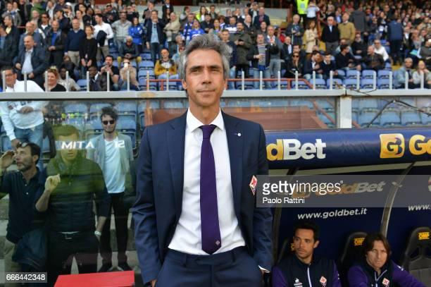 Paulo Sousa head coach of Fiorentina during the Serie A match between UC Sampdoria and ACF Fiorentina at Stadio Luigi Ferraris on April 9 2017 in...