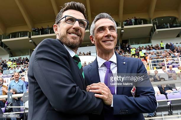 Paulo Sousa manager of ACF Fiorentina and Eusebio Di Francesco manager of US Sassuiolo Calcio during the Serie A match between ACF Fiorentina and US...