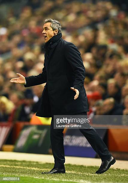 Paulo Sousa the head coach of FC Basel directs his players during the UEFA Champions League group B match between Liverpool and FC Basel 1893 at...