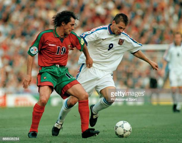 Paulo Souza of Portugal and Pavel Kuka of the Czech Republic in action during the UEFA Euro 96 Quarter Final at Villa Park on June 23 1996 in...