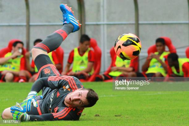 Paulo Victor of Flamengo runs for the ball during the match between Flamengo and Nautico for the Brazilian Series A 2013 at Arena Pernambuco on...