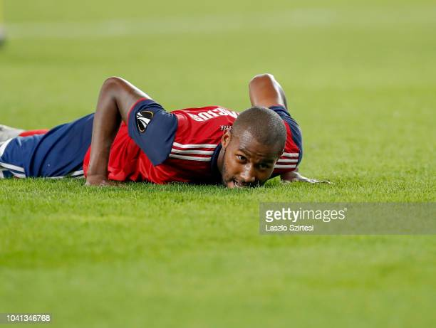 Paulo Vinicius of Vidi FC lays on the ground disappointed during the UEFA Europa League Group Stage match between Vidi FC and FC BATE Borsiov at...