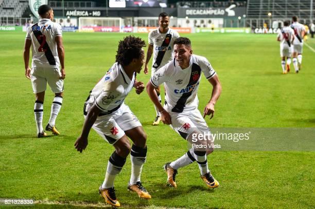 Paulo Vitor and Paulinho of Vasco da Gama celebrate a scored goal against Atletico MG during a match between Atletico MG and Vasco da Gama as part of...