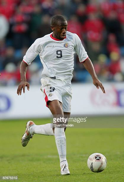 Paulo Wanchope of Costa Rica in action during The International Friendly match between Norway and Costa Rica at The Ullevaal Stadium on May 24 2005...