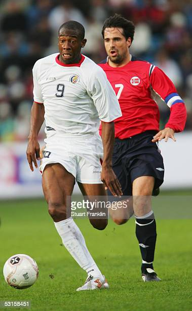 Paulo Wanchope of Costa Rica is chased by Martin Andresen of Norway during the International Friendly match between Norway and Costa Rica at The...