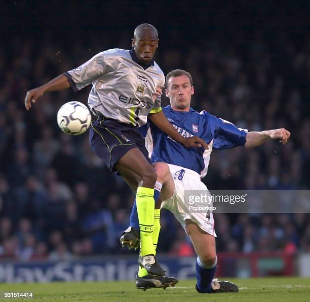 Paulo Wanchope of Manchester City and John McGreal of Ipswich Town in action during the FA Carling Premiership match between Ipswich Town and...