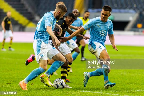 Paulos Abraham of AIK runs with the ball during an Allsvenskan match between AIK and Malmo FF at Friends Arena on June 28, 2020 in Solna, Sweden.