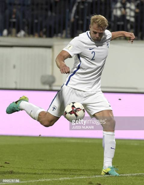 Paulus Arajuuri of Finland scores a goal during the World Cup 2018 qualifying football match Finland vs Kosovo on September 5 2016 in Turku / AFP...
