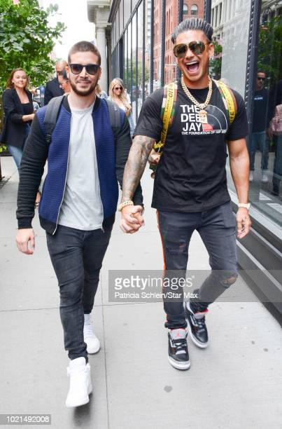Pauly D and Vinny Guadagnino are seen on August 22, 2018 in New York City.