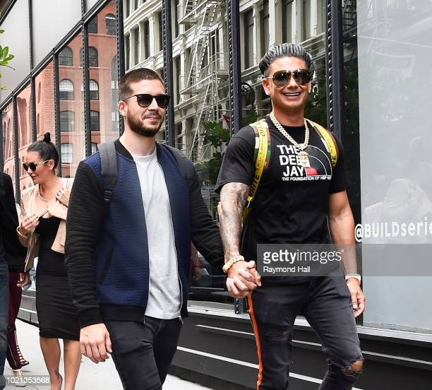Pauly DVinny Guadagnino are seen arriving at Aol Live in soho on August 22 2018 in New York City
