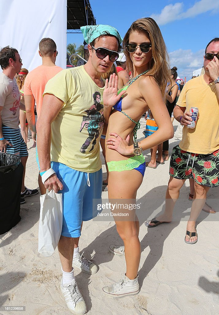 Pauly Shore and Nina Agdal and attends Dirty Dutch Model Volleyball Tournament 2013 on February 9, 2013 in Miami Beach, Florida.