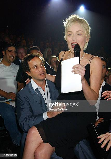 Pauly Shore Sharon Stone during 2003 Macy's and American Express Passport Gala Show at Barker Hanger in Santa Monica California United States
