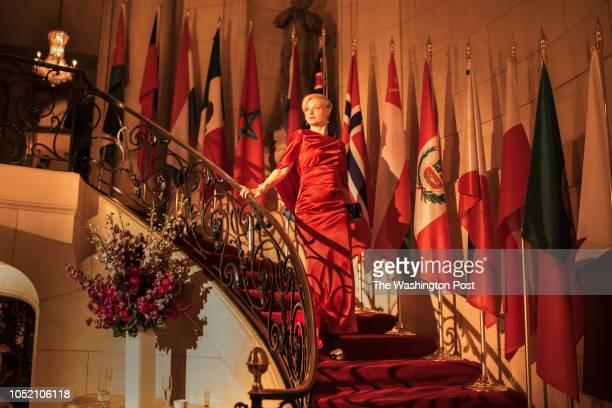 Paura Lubinski decends the stairs at the 50th annual Meridian Ball at the Meridian International Center in Washington DC on October 12 2018