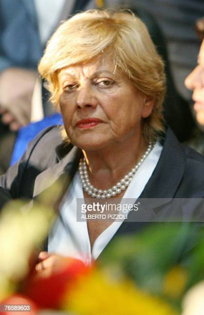 Pavarotti's exwife Adua Veroni is pictured in Modena's Romanesque cathedral 08 September 2007 before the funeral mass in tribute to Italy's opera...