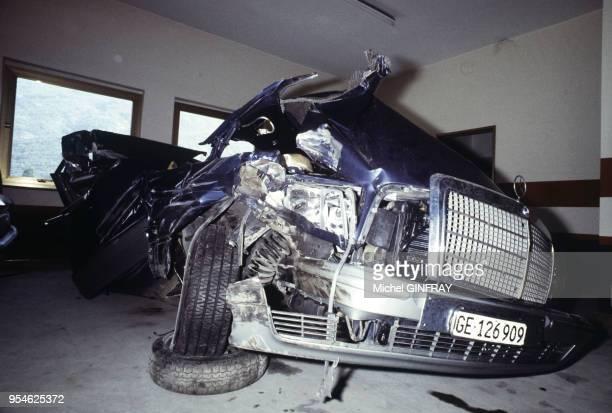 L'épave du véhicule dans lequel Mireille Darc a été victime d'un grave accident de la route le 7 juillet 1983 à Aoste Italie