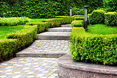 Paved cobblestone trail in a beautiful park, framed by cropped bushes in the rays of soft light