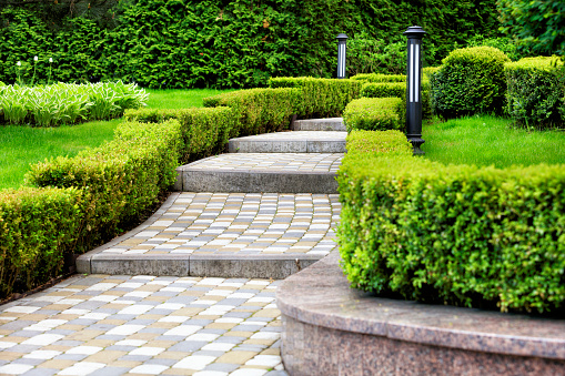 Paved cobblestone trail in a beautiful park, framed by cropped bushes in the rays of soft light 1093940244