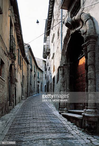 Paved lane in Civitella del Tronto Abruzzo Italy
