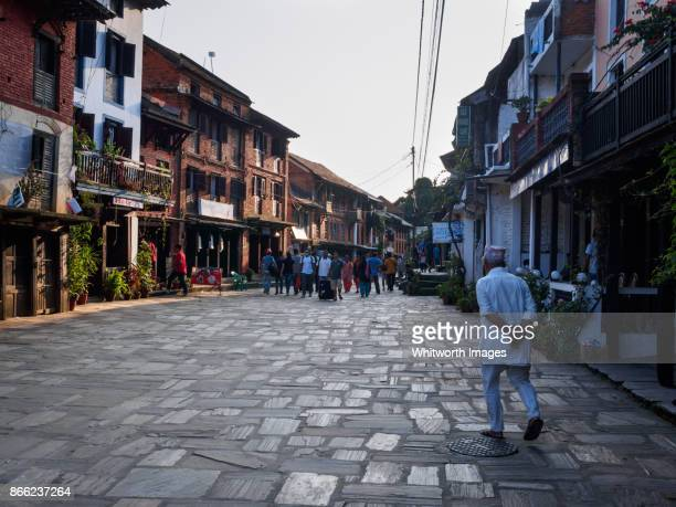 Paved main street of traditional Bandipur village, Nepal