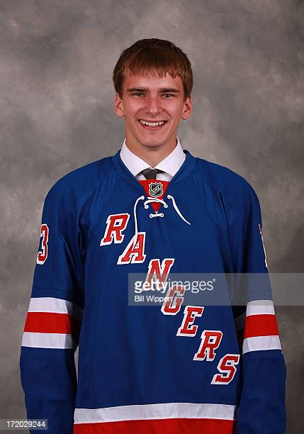 Pavel Buchnevich 75th pick overall by the New York Rangers poses for a portrait during the 2013 NHL Draft at Prudential Center on June 30 2013 in...