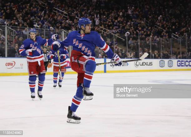 Pavel Buchnevich of the New York Rangers celebrates his goal at 14:20 of the second period against the Washington Capitals at Madison Square Garden...