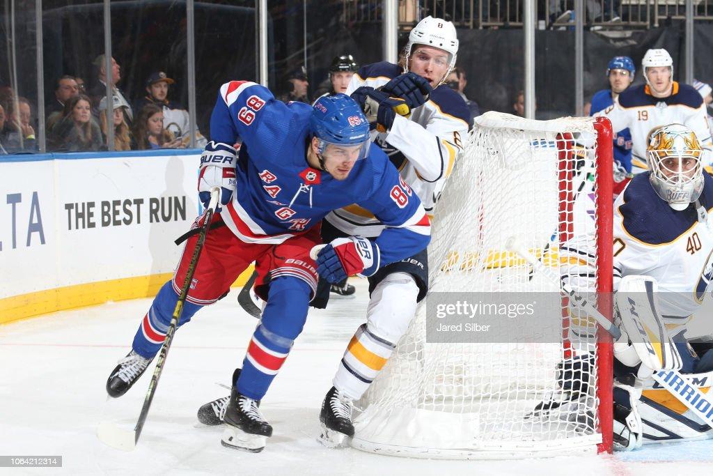 purchase cheap b548f 563e3 Pavel Buchnevich of the New York Rangers skates against ...