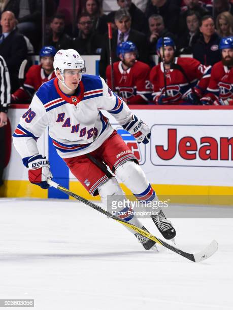 Pavel Buchnevich of the New York Rangers skates against the Montreal Canadiens during the NHL game at the Bell Centre on February 22 2018 in Montreal...