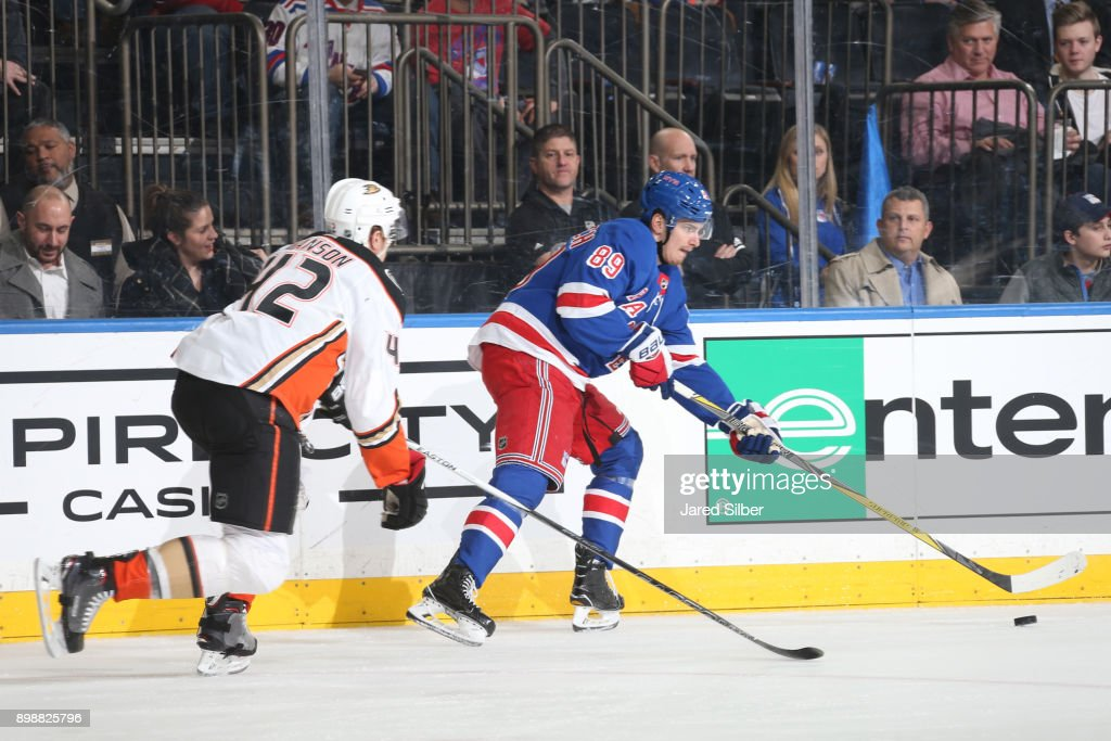 best cheap e2fc9 16c7d Pavel Buchnevich of the New York Rangers skates with the ...