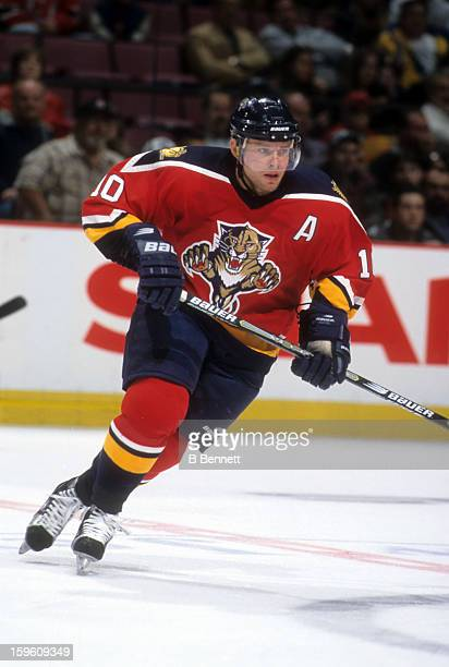 Pavel Bure of the Florida Panthers skates on the ice during an NHL game against the New Jersey Devils on October 30 2000 at the Continental Airlines...