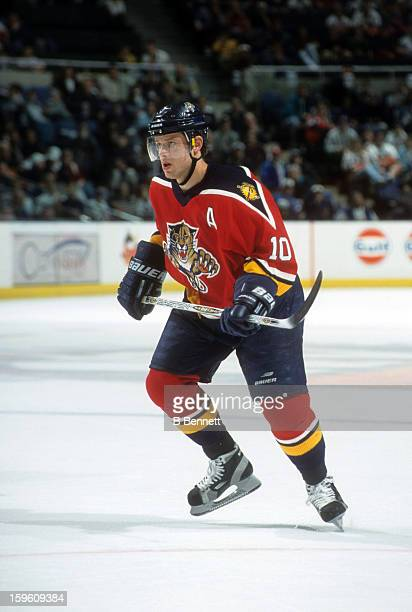 Pavel Bure of the Florida Panthers skates on the ice during an NHL game against the New York Islanders circa 2001 at the Nassau Coliseum in...