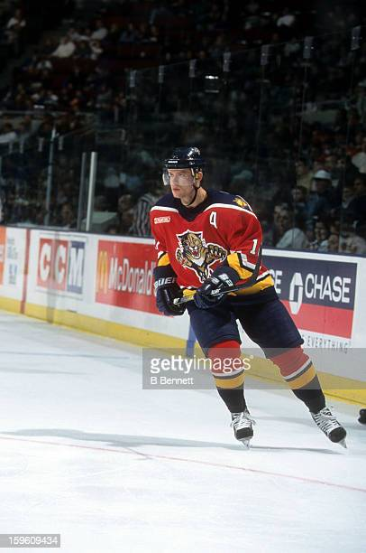 Pavel Bure of the Florida Panthers skates on the ice during an NHL game against the New York Islanders on April 9, 2000 at the Nassau Coliseum in...
