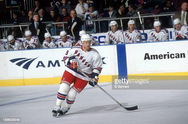 Pavel Bure of the New York Rangers skates on the ice during an NHL game in March 2002 at the Madison Square Garden in New York New York