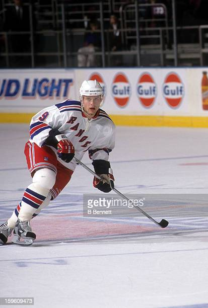 Pavel Bure of the New York Rangers skates on the ice during an NHL game in April 2002 at the Madison Square Garden in New York New York