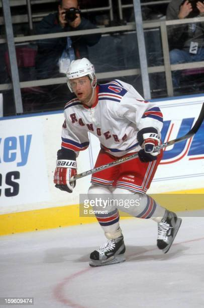 Pavel Bure of the New York Rangers skates on the ice during an NHL game circa 2002 at the Madison Square Garden in New York New York