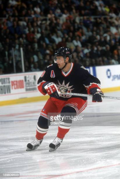 Pavel Bure of the New York Rangers skates on the ice during an NHL game against the New Jersey Devils on March 25 2002 at the Continental Airlines...