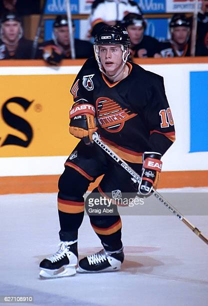 Pavel Bure of the Vancouver Canucks turns up ice against the Toronto Maple Leafs during NHL game action on December 7 1991 at Maple Leaf Gardens in...