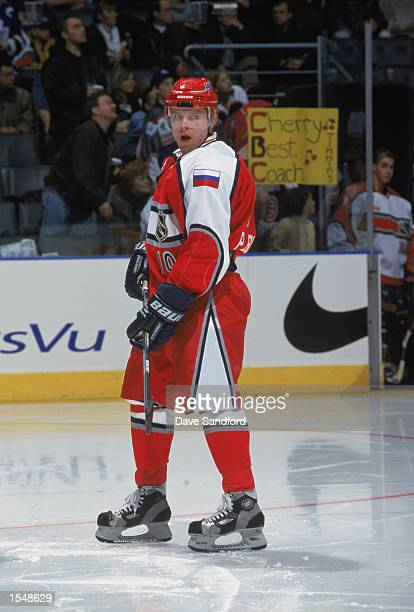 Pavel Bure of the World team skates on the ice during the NHL AllStar game against the North American team on February 6 2000 at Air Canada Centre in...