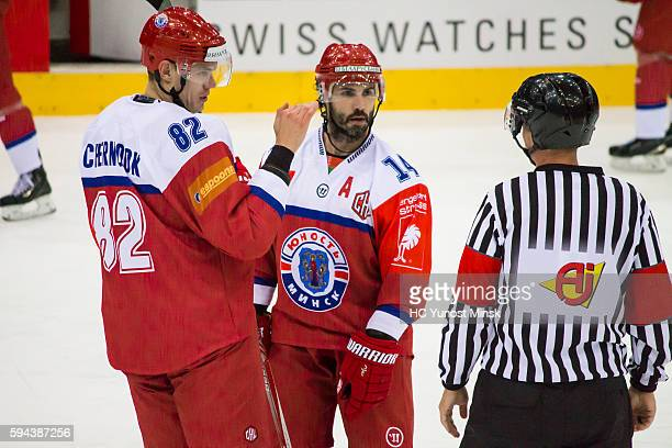 Pavel Chernook of Yunost Minsk and Daniel Korso of Yunost Minsk speak with referee during the 2nd period of the Champions Hockey League group stage...