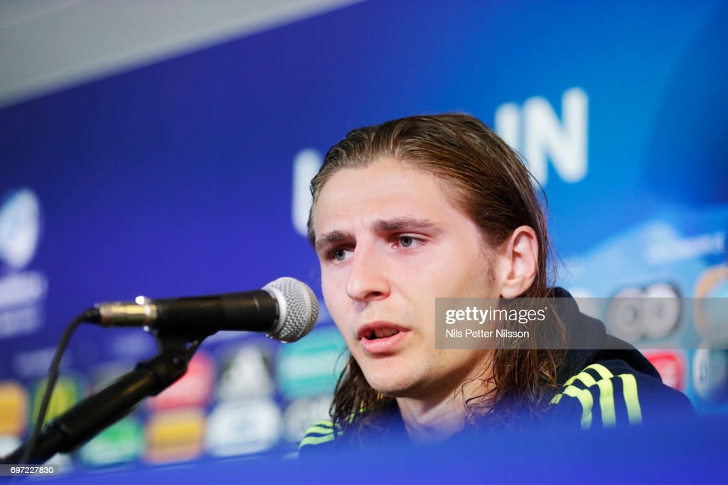 Pavel Cibicki of Sweden during the Swedish U21 national team MD-1 press conference at Arena Lublin on June 18, 2017 in Lublin, Poland.