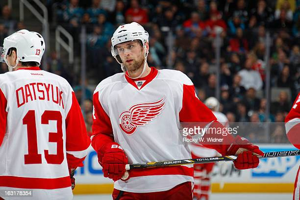 Pavel Datsyuk and Jakub Kindl of the Detroit Red Wings in a game against the San Jose Sharks at the HP Pavilion on February 26 2013 in San Jose...